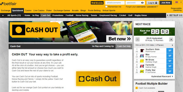 betfair cash out option